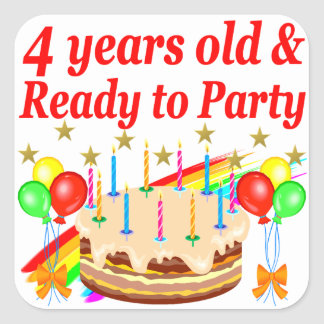 TIME TO CELEBRATE TURNING 4 YEARS OLD SQUARE STICKER