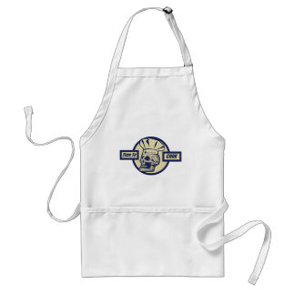 Time to Cook - Butter Yellow & Dark Blue Graphic Adult Apron