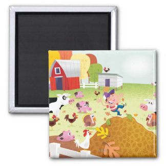 Time to Count - Farmyard 2 Inch Square Magnet