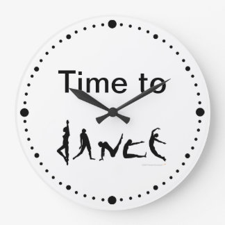 Time to Dance Dancers Silhouettes White Wall Clock