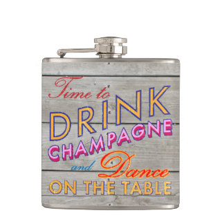 Time to Drink Champagne Barn Board Flask