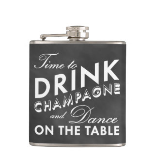 Time to Drink Champagne Chalkboard Flask