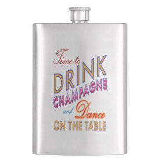 Time to Drink Champagne Colorful Classic Flask