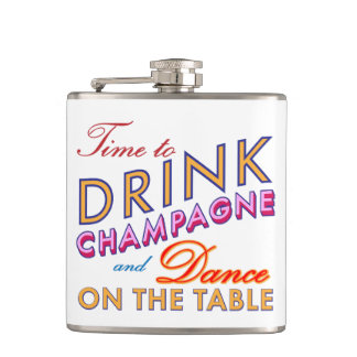 Time to Drink Champagne Colorful Flask
