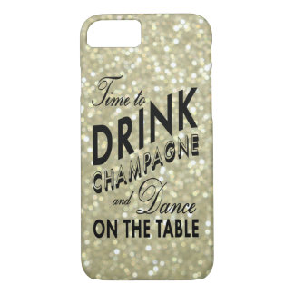 Time to Drink Champagne on Gold iPhone 7 Case