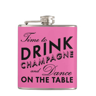 Time to Drink Champagne Pink & Black Flask
