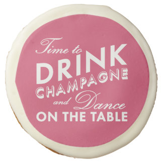 Time to Drink Champagne Pink Cookies Sugar Cookie