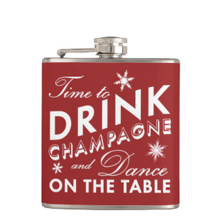 Time to Drink Champagne Red Holiday Flask