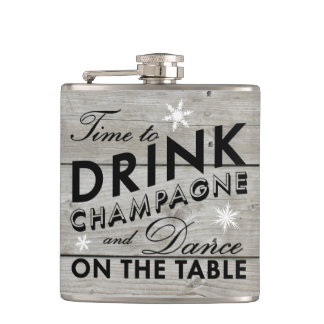 Time to Drink Champagne Rustic Holiday Flask