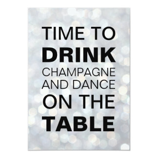 Time to Drink Champagne Silver Birthday Invitation