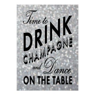 Time to Drink Champagne Silver Poster