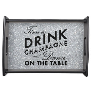 Time to Drink Champagne Silver Serving Tray