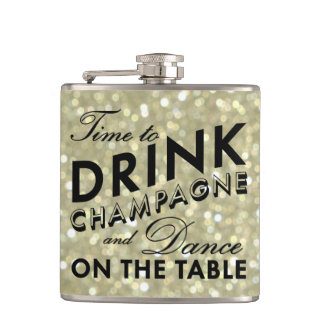 Time to Drink Champagne Sparkly Gold Flask