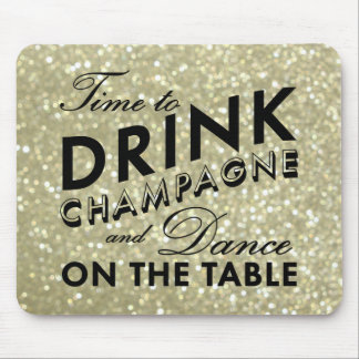 Time to Drink Champagne Sparkly Gold Mouse Pad