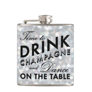 Time to Drink Champagne Sparkly Silver Flask