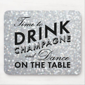 Time to Drink Champagne Sparkly Silver Mouse Pad
