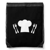 Time to Eat! Chef Hat, Knife and Fork Drawstring Backpack