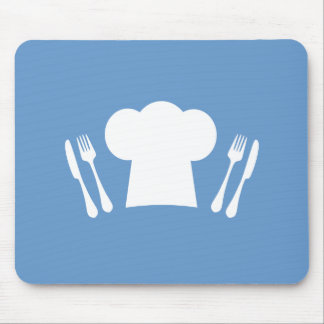 Time to Eat! Chef Hat, Knife and Fork Mouse Pad