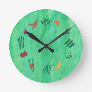 Time to Eat More Fruits and Vegetables Wall Clock