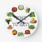Time to Eat Your Fruits and Vegetables! Round Clock