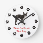 Time to feed the dog Boston Terrier Wall Clocks