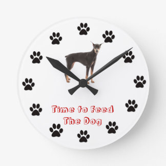 Time to feed the dog Doberman Pinscher Wall Clocks