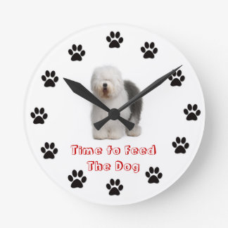 Time to feed the dog Old English Sheep Dog Round Clock