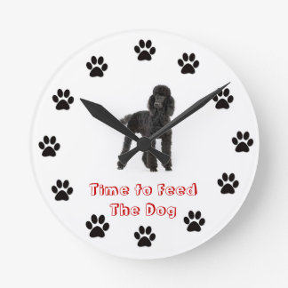 Time to feed the dog Poodle Round Wallclocks