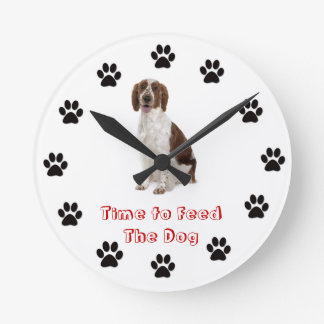 Time to feed the dog Welsh Springer Spaniel Round Clock