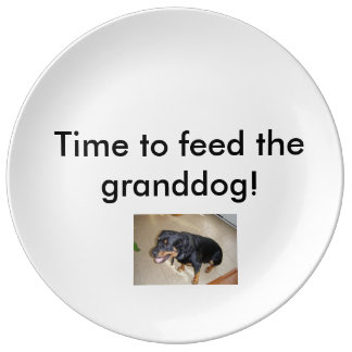 Time to feed the granddog! porcelain plate