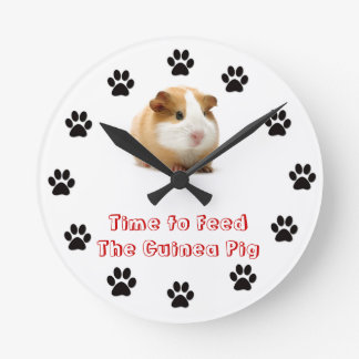 Time to feed the Guinea Pig Round Clock
