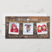 Time to Get Dashing Reindeer 3-Photo Holiday Card