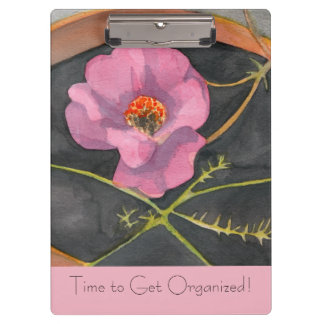 Time to Get Organized Pink Peony Clip Board