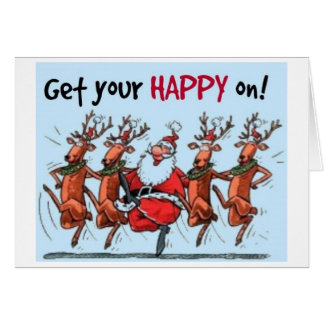 TIME TO GET PARTY STARTED SAY DANCING SANTA CARD