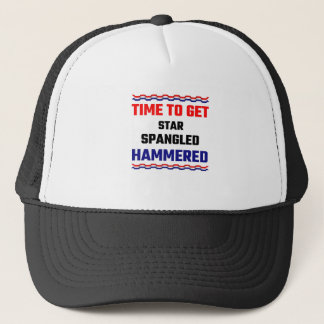 Time To Get Star Spangled Hammered Trucker Hat