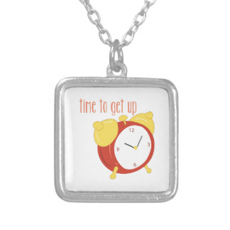 Time To Get Up Square Pendant Necklace