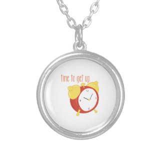 Time To Get Up Round Pendant Necklace