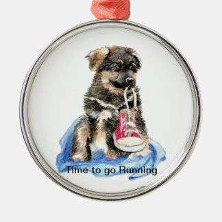 Time to go Running Motivation Quote Cute Dog Metal Ornament