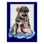 Time to go Running Motivation Quote Cute Dog Posters