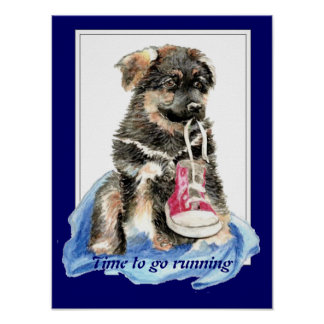 Time to go Running Motivation Quote Cute Dog Poster