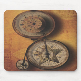 Time to Go Steampunk Clock on Victorian Bicycle Mouse Pads