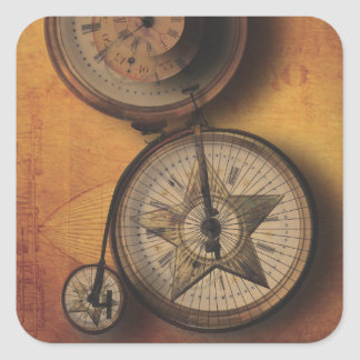 Time to Go Steampunk Clock on Victorian Bicycle Square Sticker