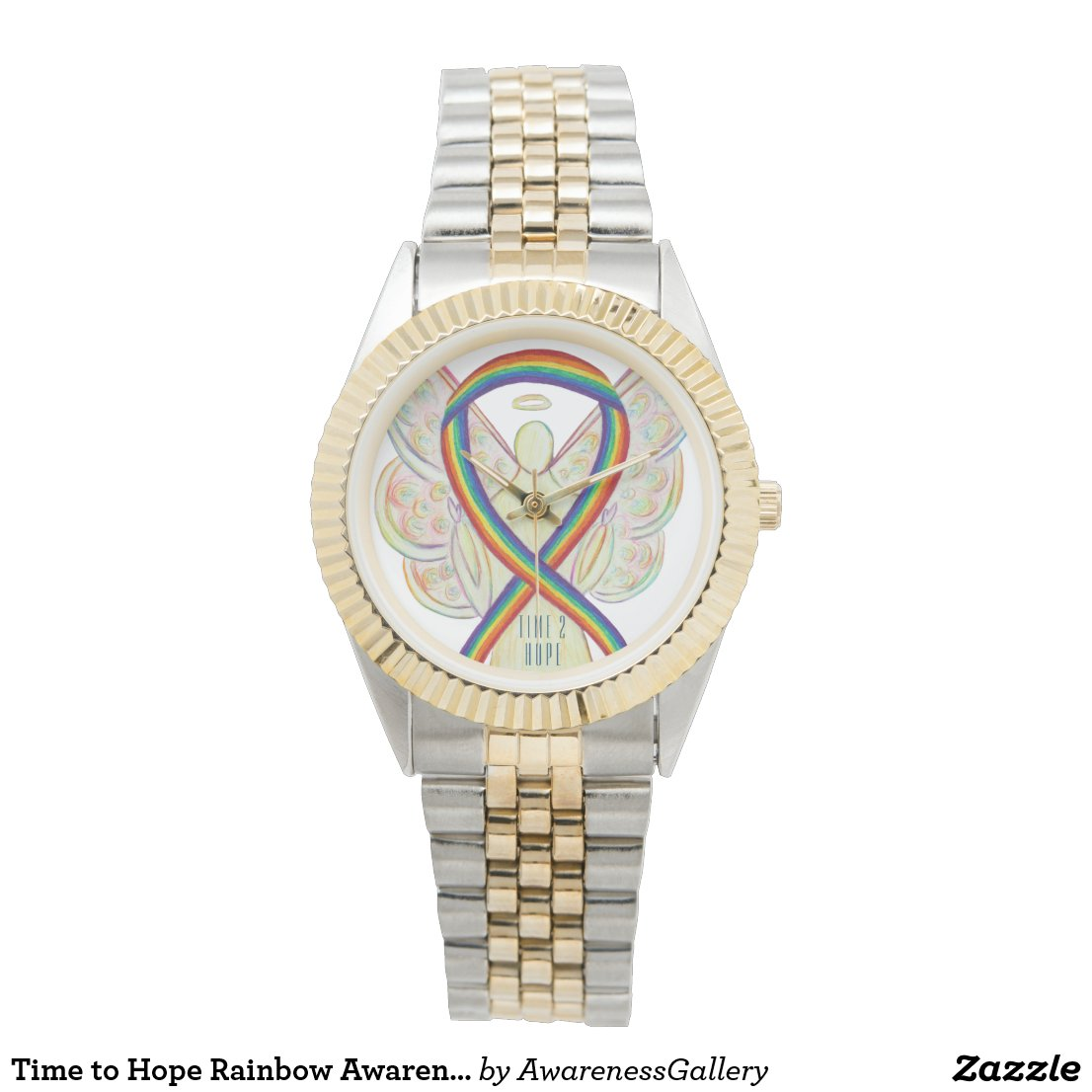 Time to Hope Rainbow Awareness Ribbon Angel Watch