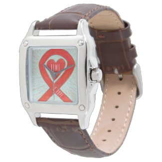 Time to Hope Red Awareness Ribbon Heart Watch