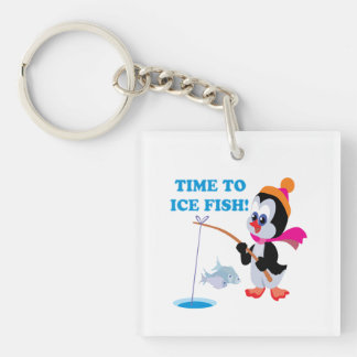 Time To Ice Fish Single-Sided Square Acrylic Keychain