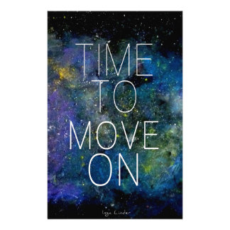 Time to move on - cosmic, night sky with stars stationery design