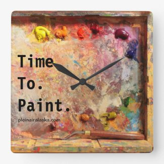 Time To Paint Artist Palette Studio Wall Clock
