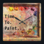 """Time To Paint Artist Palette Studio Wall Clock<br><div class=""""desc"""">Check out this old and well used palette belonging to Painted Lady, Karen Whitworth. It&#39;s ALWAYS a good time to paint. Let this clock be the perfect reminder! Not so long ago, in a land far away from the rest of the art world, a small group of Alaskan artists, also...</div>"""
