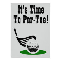Time To Par-Tee Golf 50th Birthday Party Invite