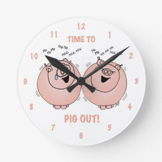 Time to pig out! Cartoon pigs clock. Round Wall Clock